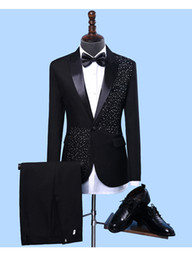 men s black linen suit NZ - Men's Formal Suits Black white Crystals Slim Blazers Group musical performance Costume Wedding Party Prom Host singer Stage suit