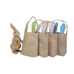 China Burlap Easter Basket with Bunny Ears 14 Colors Bunny Ears Basket Cute Easter Gift Bag Rabbit Ears Put Easter Eggs MMA1321 cheap burlap fabric bags suppliers