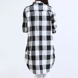 9e064a99c54 Ladies Checks Shirts UK - Women Cotton Plaid Shirt Long Sleeve Irregular  5XL Plus Size Ladies