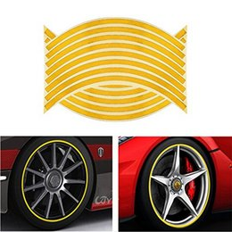 Wheels stickers online shopping - 16pcs Reflective Strips Car Wheel Stickers For Inch Auto Vehicle Wheel Waterproof Sticker Decal Tape
