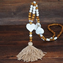 $enCountryForm.capitalKeyWord Australia - New Hand Made Stone Jewelry Necklace White Stone Tassel Necklace Wood Bead Long Women Gift