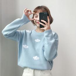 $enCountryForm.capitalKeyWord Australia - 2019 Women's Kawaii Ulzzang Vintage College Loose Clouds Sweater Female Korean Thick Cute Loose Harajuku Clothing For Women