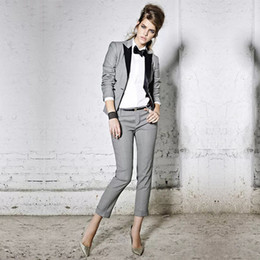$enCountryForm.capitalKeyWord Australia - Womens Pant Suits Light Gray Formal Office Uniform Single Breasted Long Sleeve Coats Blazer+Pants Casual Slim Lady Trouser Suit
