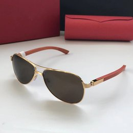 Pc Uv Case Australia - Luxury- 8200832 Sunglasses Oval Frame Metal Popular UV Protection Men Brand Designer Sunglasses Wooden Vintage Retro Style Come With Case