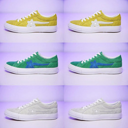 5b8ed26e4425d5  With Box  TTC The Creator x One Star Golf Ox Le Fleur Wang Green Yellow  Beige Sunflower Casual Fashion Running Skate Shoes