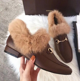Boots Small Australia - Women's G leather rabbit fur boots autumn and winter leather plus velvet flat small square head furry shoes furry fluffy slippers boots