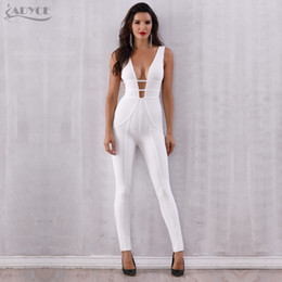 celebrity party jumpsuits Australia - Adyce New Summer White Bandage Jumpsuit Rompers Vestidos Verano 2019 Sexy Sleeveless Deep V Hollow Out Celebrity Party Jumpsuits T5190614