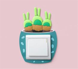 EuropE sockEt online shopping - Hot Home Décor Decorative Luminous Cactus Switch Sticker Creative Switch Cover Socket Wall Sticker Switch Decorative Luminous Sticker