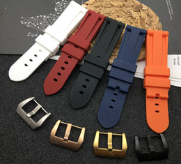 $enCountryForm.capitalKeyWord Australia - 22mm 24mm 26mm Black Blue Red Orange White Watch Band Soft Silicone Rubber Watchband Replacement For Panerai Watch Strap Tools T190620