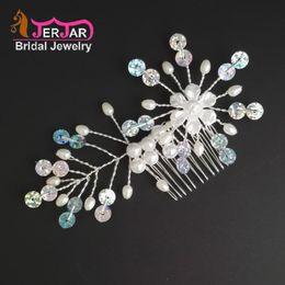 Hair Forks Australia - Fashion Wedding Bridal Hair Jewelry Women Colorful Sequins Hair Combs Bridesmaid Silver Headpiece Pearl White Flower Hair fork Accessories