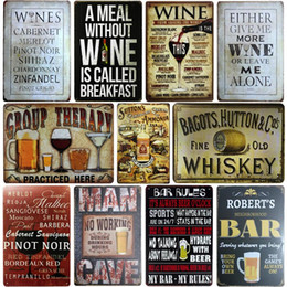 metal wall art plaques Canada - [SQ-DGLZ]WINE Whiskey Metal Sign Bar Wall Decor Vintage Metal Crafts Home Decor Painting Plaques Art Poster