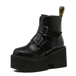 90a9c2cab8d6 Gothic Shoes Women UK - 2019 Women s boots rivet side platform wedge high  heels winter women