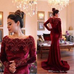 Holiday Velvet Australia - 2018 Arabic Dubai Burgundy Velvet Evening Dress with Beaded Collar Long Sleeves Formal Holiday Wear Prom Party Gown Custom Made Plus Size