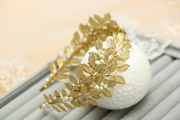 chain hairs NZ - Pearl Crystal Gold plated Leaves Vine Wedding Headband Hair Accessories Bridal Headwear Hair Jewelry Rhinestone Head Chain -P