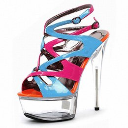 super blocks Australia - Mclubgirl 15cm Heels Round Head Buckle Walk Show Super High Heel Transparent Waterproof Platform Color Blocking Sandals LYP