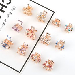 kids claw clips Canada - 1pc Crystal Rhinestone Flower Hair Claw Hairpins Hair Accessories Ornaments Hair Clips Hairgrip for Kids Girl Crab Fahion Gift