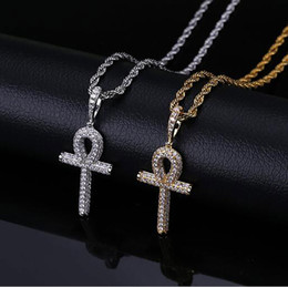 $enCountryForm.capitalKeyWord NZ - ICED OUT CZ BLING Egyptian Ankh Key Of Life PENDANT NECKLACE MENS Micro Pave Cubic Zirconia Simulated Diamonds Necklace