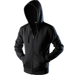 mens black hoodies zip up großhandel-New Plain Herren Zip Up Hoody Jacke Sweatshirt mit Kapuze Reißverschluss männlich Top Oberbekleidung Schwarz Grau Boutique Männer Freies Verschiffen