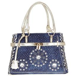 $enCountryForm.capitalKeyWord Australia - Fashion Denim Diamond Lock Buckle Denim Shoulder Bag Elegant Rhinestone Decoration Crossbody Bag For Women Ladies Girls