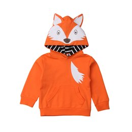 Fox Clothing Wholesale UK - Newborn Baby Boy Girl Hoodies Autumn cute Fox Warm Cotton Top Outwear Coat Hooded Tops Clothes Sweatshirts Costume