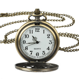 analog gear Australia - Antique Copper Steampunk Vintage Hollow Bronze Gear Hollow Quartz Pocket Watch Necklace Pendant Clock Chain Men's Women