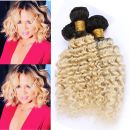 Ombre Malaysian Human Hair Extensions Australia - #1B 613 Blonde Ombre Virgin Hair Weaves Deep Wave Wavy Dark Roots Blonde Ombre Malaysian Human Hair 3Bundles 2Tone Ombre Wefts Extensions