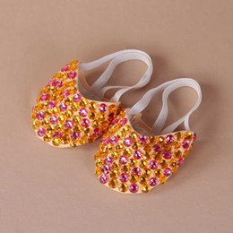 flat bellies shoes 2020 - 13 Colors Professional Dancewear Women Ballet Flats Belly Dance Practice Shoes Beaded Shoe Pads Foot Thong Beads discoun