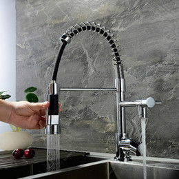 Kitchen Tap Two Faucet Australia - Brass Chrome Plated Pull Out Kitchen Faucet Single Hole Deck Mounted Hot & Cold Sink Mixer Double Function Two Water Tap