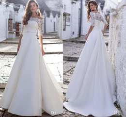 Castle models online shopping - 2019 Romantic Off Shoulders Half Long Sleeves A Line Wedding Dresses Lace Top Satin Long Sweep Train Wedding Bridal Gowns Custom Made