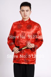 Wholesale traditional chinese shirt red resale online - Shanghai Story Long Sleeve shirt Chinese Traditional clothing Men s marry shirt mandarin collar kungfu Red