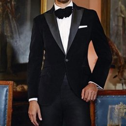 White Corduroy Suit Australia - Black Wedding Groom Tuxedos 2019 Two Piece Peaked Lapel Custom Made Jacket Black Pants Velvet Evening Party Men Suits