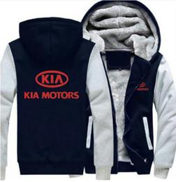 Cashmere sport Coat men online shopping - KIA Motors Logos Print Winter Coat Thicken hoody Winter Cashmere Hoodie Cotton Coat Zipper Jacket Sport Sweatshirt USA EU Size Plus