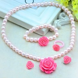 $enCountryForm.capitalKeyWord Australia - 1 set Hot sale Kids Girls Child Imitation Pearl Flower Shape Necklace+Bracelet+Ring+Ear Clips Jewelry Set Gift CX17