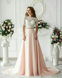 short blush wedding dresses Australia - Hot Sell Two Pieces A Line Wedding Dresses Arabic 2019 blush Pink Bridal Gowns Sheer Lace Appliques Wedding Guest Reception Dress