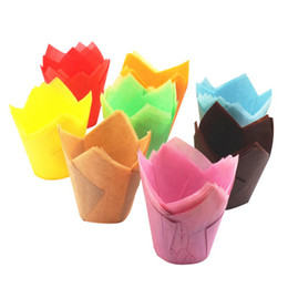 Chinese  250 pcs  pack Paper Cake Decoration Tool Mold Tulip Flower Chocolate Cupcake Wrapper Baking Muffin Paper Liner Disposable manufacturers