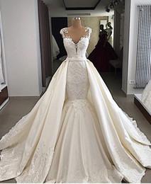 Organza Mermaid Wedding Dress Feathers Australia - Eslieb High-end custom made lace with crystal beads Lace wedding dress 2019 mermaid wedding dresses 2018