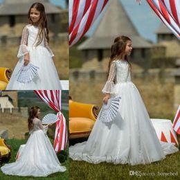 $enCountryForm.capitalKeyWord Australia - Flower Girl Dress A Line Long Sleeve Jewel Lace Applique Pearls Kids Princess Girls Pageant Dress First Communion Gowns9700