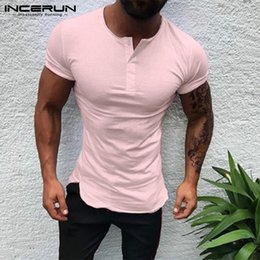 $enCountryForm.capitalKeyWord Australia - Stylish Plain Tee Tops Men T Shirt Short Sleeve Muscle Joggers Bodybuilding Tee Male Clothes Slim Fit White Pink Henley 3XL