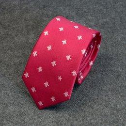 Groomsmen Ties Australia - Tie male red new casual personality embroidery wedding groomsmen Lang casual dress business Korean version of the bee 31 tie