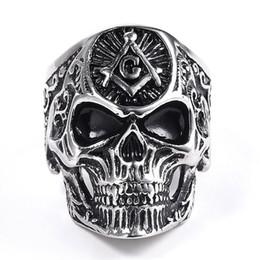 Freemason Rings Wholesale Australia - Hip Hop Masonic Skull Rings Men's Personality Punk Ring Freemason Masonic Ring For Men Silver Master Mason Signet