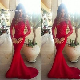 Olive Lace Long Evening Dress Australia - Sexy Red Lace Appliques Mermaid Prom Dresses Sweep Train Long Sleeve Elegant Party Dress Evening Dresses Gowns
