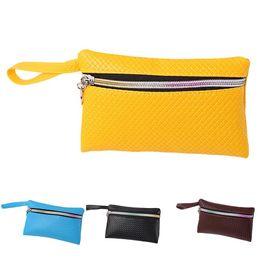 $enCountryForm.capitalKeyWord Australia - New Women Simple Grid Pattern Embossed Faux Leather Wristlet Clutch Bag Phone Holder