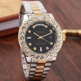 limited edition luxury watch 2019 - Top Brand Men Business Watch Luxury Diamond Quartz Watches Gold Silver Stainless Band Black Large Dial Double Calendar W