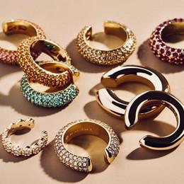 Wholesale Bohemian Crystal Cubic Zircon Ear Cuff Earring for Women Multicolor C Shape No Pierced Small Earring Bridal Wedding Ear Clip Party Jewelry