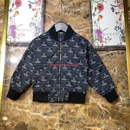 line jacket designs Australia - Autumn new boy jacket kids designer clothes jacket woven fabric antistatic lining cotton letter covering design coat news