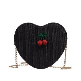 $enCountryForm.capitalKeyWord UK - Fashion-Women'S Fashion Elegant Heart-Shaped Cherry Accessories Solid Color Messenger Bag Shoulder Bag Love Woven