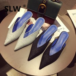 sweet cloth NZ - sequined cloth pointed toe thin heel mules shoes woman bling bling v open slides Classics Party Sweet Mature Casual spring