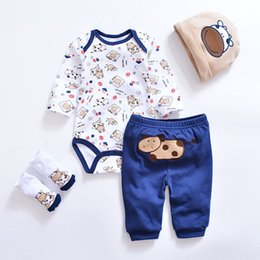 pearl flower girl shoes UK - 2019 Baby Girl Clothes 4pcs Clothing set Pink Cotton Romper White Dot Pant Heart Shoes Cuties Hat Newborn Clothes