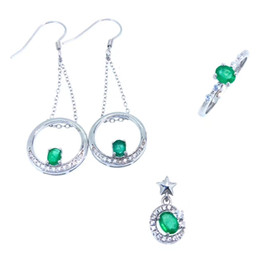 Discount natural emerald pendants - Natural green emerald ring Pendant Earrings Natural Gemstone Jewelry Set S925 Silver fashion Stars round Women party jew