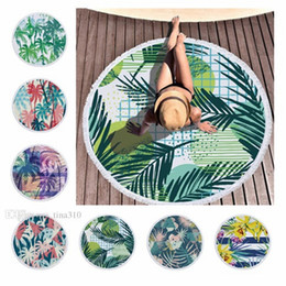 Wholesale Hot Comfortable and soft plant blanket microfiber printed round Bath towel Polyester beach towels shawl cushion belt tassel cm T10I004